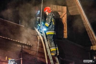 KROSNO: Pożar w domu. Poszkodowany mężczyzna